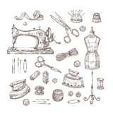 Tailor shop. Sketch sewing tools materials vintage clothes needlework textile industry stitching tailor handicraft. Vector set. Needlework and handicraft stock illustration