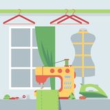 Tailor shop, vector illustration. Atelier room with sewing machine and dressmakers dummy. Seamstress workplace, sewing