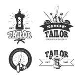 Tailor shop vector labels, badges, logos, emblems Stock Photos