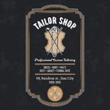 Tailor shop vintage emblem or signage vector. Tailor shop emblem or signage with logo and business information  vector illustration in retro style. Custom Royalty Free Stock Images