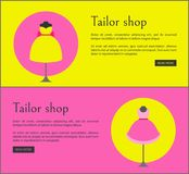 Tailor Shop Web Pages Set Vector Illustration. Tailor shop web pages set with text sample and letterings, tilor shop and dresses on mannequins, sites vector Royalty Free Stock Photo