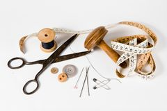 Tailor still life set - vintage tools for handmade custom tailoring industry royalty free stock photos