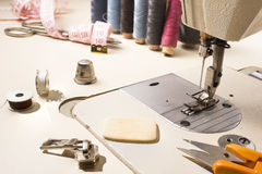 Tailor, tailoring table and utensils. High resolution image Stock Photos