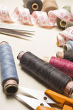 Tailor, tailoring table and utensils. High resolution image Royalty Free Stock Image