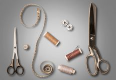 Tailor. Thread Scissors Needle Textile Thimble Work Tool royalty free stock images