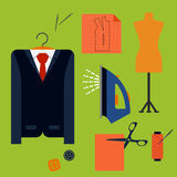 Tailor tools and accessories in flat style. Tailor tools and accessories flat icons with man costume on a hanger, mannequin, cloth with scissors, iron, thread Stock Image