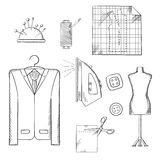 Tailor tools and accessories sketches set. Tailor tools and accessories sketched icons set with man costume on a hanger, mannequin, cloth and scissors, iron and Royalty Free Stock Photography