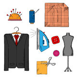 Tailor tools, cloth and accessories. Icons with man costume on a hanger, mannequin, cloth with scissors, iron and thread spool, needles and buttons Stock Photos