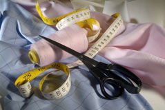 Tailor tools and fabric Royalty Free Stock Images