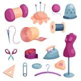 Tailor tools icons set, cartoon style Royalty Free Stock Photos