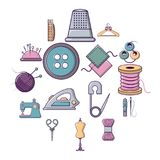 Tailor tools icons set, cartoon style. Tailor tools icons set. Cartoon illustration of 16 tailor tools vector icons for web Royalty Free Stock Images