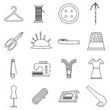 Tailor tools icons set, outline style Royalty Free Stock Image