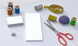 Tailor tools, mockup. Sewing tools, Tailor kit, mockup Royalty Free Stock Image