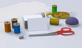 Tailor tools, mockup. Sewing tools, Tailor kit, mockup Stock Image