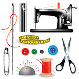 Tailor tools. Sewing tools and accessories on a white background. Vector illustration Royalty Free Stock Images