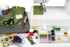 Tailor. Utensils with sewing machine Stock Photo