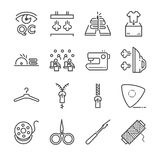 Tailor vector line icon set. Included the icons as needle, sew, fabric, needle and more. Stock Images