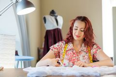 Tailor woman at work Royalty Free Stock Images
