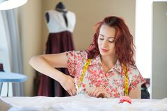 Tailor woman at work Stock Photography