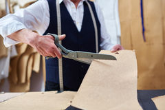 Tailor Working in Atelier Closeup Stock Photo