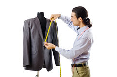 Tailor working isolated on white. Background Royalty Free Stock Photo