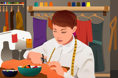 Tailor working with sewing machine. A vector illustration of tailor working with sewing machine Stock Photo