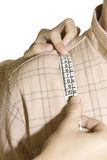 Tailored shirt measure shoulder Stock Photo
