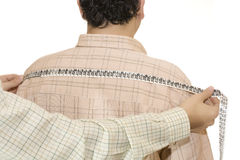 Tailored shirt measure shoulders Royalty Free Stock Photo