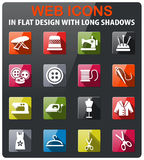 Tailoring icon set. Tailoring icons set in flat design with long shadow Royalty Free Stock Photo