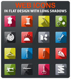Tailoring icon set. Tailoring icons set in flat design with long shadow Royalty Free Stock Images