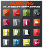 Tailoring icon set. Tailoring icons set in flat design with long shadow Stock Photos