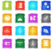 Tailoring icon set. Tailoring vector web icons in grunge style for user interface design Royalty Free Stock Image