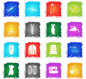 Tailoring icon set. Tailoring vector web icons in grunge style for user interface design Stock Images