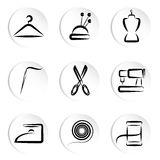 Tailoring icons. Set of tailoring icons vector Royalty Free Stock Image