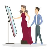 Tailoring illustrations set. Tailoring illustrations. Man tailor showing the dress to woman Stock Photography