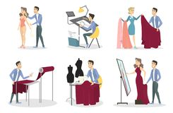 Tailoring illustrations set. Man sewing a dress for woman Stock Photo