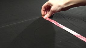 Tailoring process. Textile rulers and chalk. Handcrafted manufacturer concept stock video footage