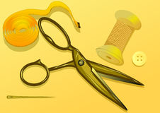 Tailoring. Scissor, button, tape measure on yellow background Stock Photo