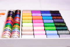 Tailoring set. With different colored spools and scissor Royalty Free Stock Photos