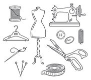 Tailoring Set Vector Illustration in Line Style Stock Images