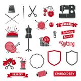 Vector icons of dressmaker sewing knitting salon. Tailoring, sewing and knitting icons of atelier tailor or dressmaker salon. Vector isolated icons of sewing Royalty Free Stock Image