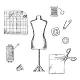 Tailoring or sewing sketched icons and objects Royalty Free Stock Photography