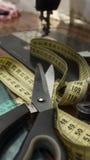 Tailoring table setup. Tailoring table, workshop, shop setup. High resolution image Royalty Free Stock Image