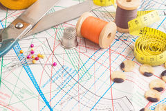 Tailoring tools. Sewing items background with old scissors, thread spools and tape measure Royalty Free Stock Photos