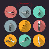 0515_1 for tailors cutting-out scissors. Vector sewing and needlework for tailors cutting-out scissors icons set Stock Images
