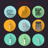 0515_5 for tailors needle. Sewing and needlework icons set vector collection for web color thread, needle Stock Illustration