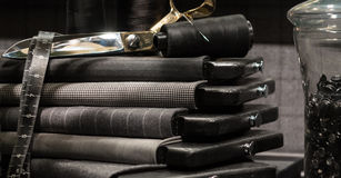 Tailors Scene. Still Life of Tailor's Shop with Tools of the Trade and Cloth Stock Images