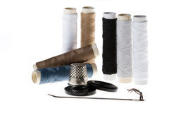 Tailors still life. Isolated on white background Royalty Free Stock Photo
