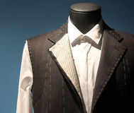 Tailors Suit on Dummy. Work in Progress Suit on Mannequin with Exposed Stitching Royalty Free Stock Photos