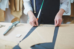 Tailors Working Table in Atelier Royalty Free Stock Photography
